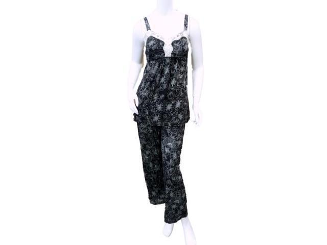 Covington Womens Black Floral Pajamas Lightweight Pajama Tank Top   Capri  PJs L 4985b74fe