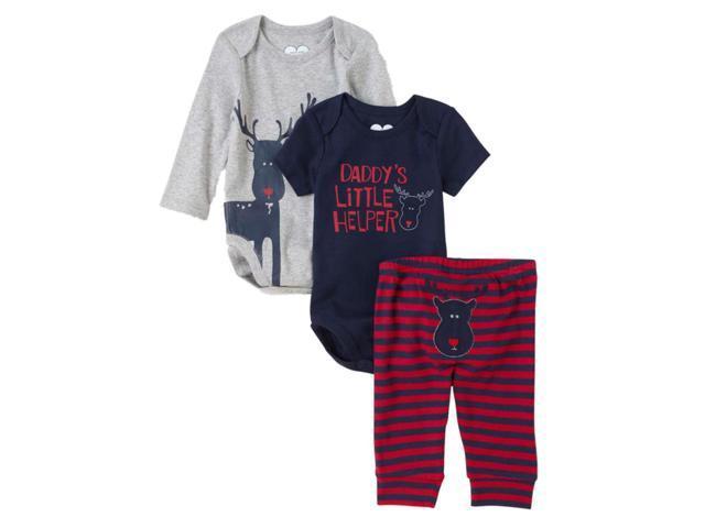 391bafebdba Childrens Place Infant Boys 3 Piece Daddys Little Helper Creepers Pants Set  3-6m