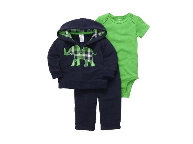 1433619bf Carters Infant Boy Blue Elephant Outfit Sweat Pants Creeper Jacket Hoodie 6m