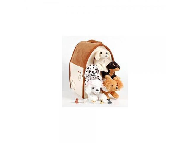 Unipak 12 Plush Dog House Carrying Case With Five 5 Stuffed Animal