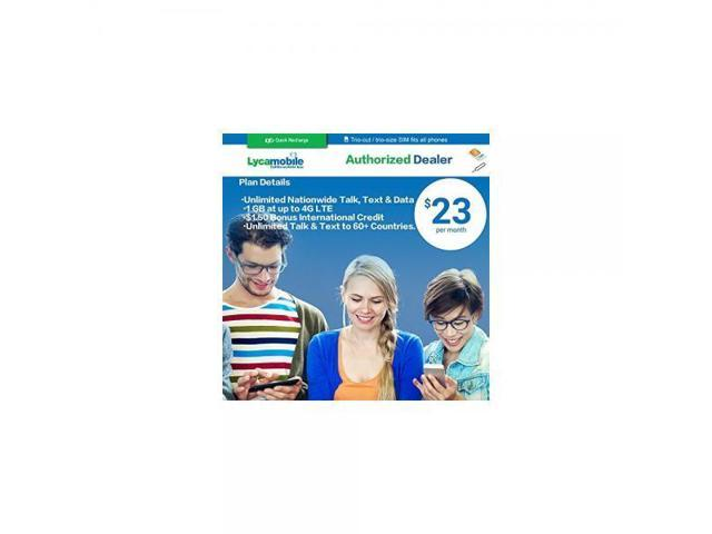 Lycamobile Preloaded Sim Card with $23 Plan Service Plan with