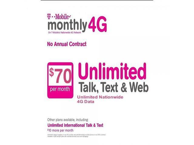$70 T-Mobile Prepaid SIM Card Unlimited Talk, Text, & Web - Newegg com