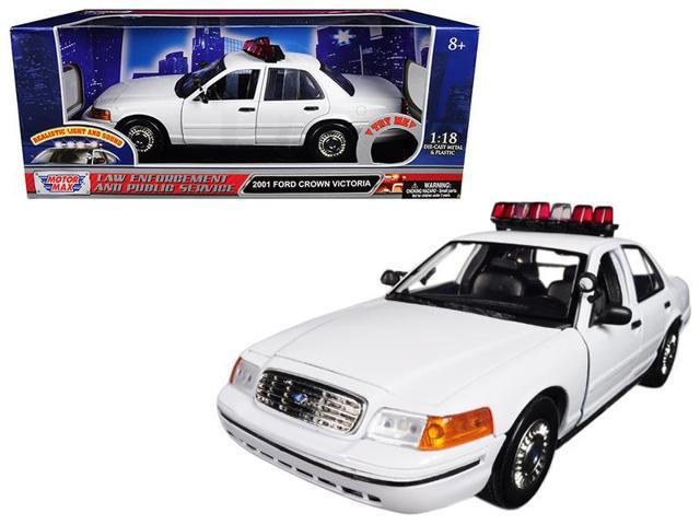 2001 Ford Crown Victoria Police Car Plain White W Flashing Light Bar Front Rear Lights Sounds 1 18 By Motormax