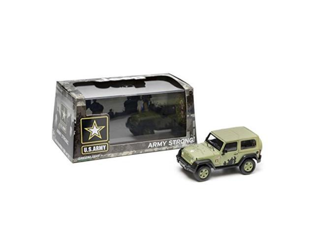 2012 jeep wrangler u s  army hard top light green with display showcase  1/43 by greenlight 86042 - Newegg com