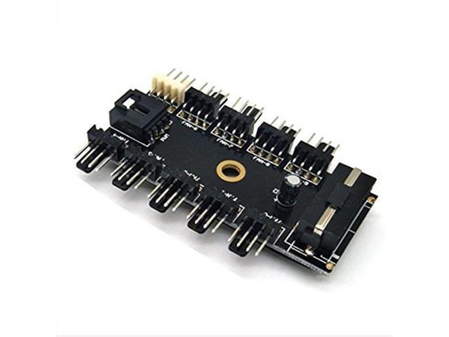 Fan Hub CPU Cooling HUB 10 Port 12V 3Pin//4Pin Fan PWM Fan Hub Controller