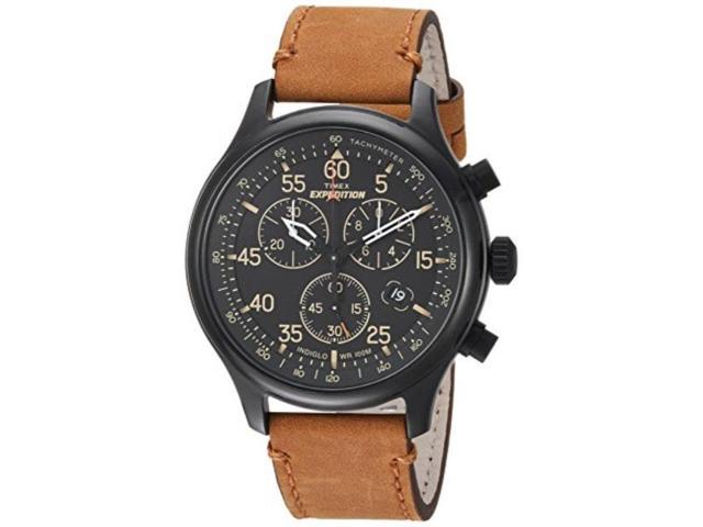 Timex Mens Tw4b12300 Expedition Rugged Field Chronograph Tan Black Leather Strap Watch