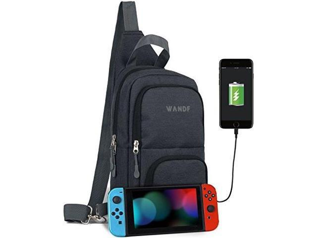 victoriatourist wandf switch travel bag, for nintendo switch console, dock,  joycon grip & switch accessories, protective storage sling backpack