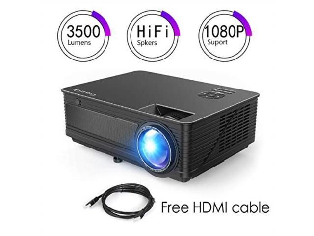 projector, exquizon 3800 lux true full hd projector home theater projector,  business ppt presentations projector, compatible with laptop, fire