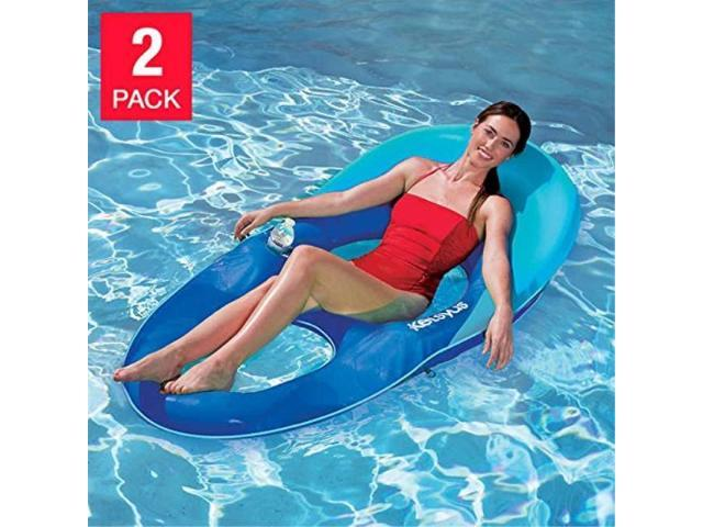 Kelsyus Floating Pool Lounger Inflatable Chair w// Cup Holder Blue 80014 2 Pack