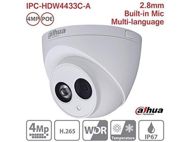 dahua ip camera ipchdw4433ca 2 8mm 4mp full hd ir mini turret dome network  camera onvif poe builtin mic ip67 international version - Newegg com