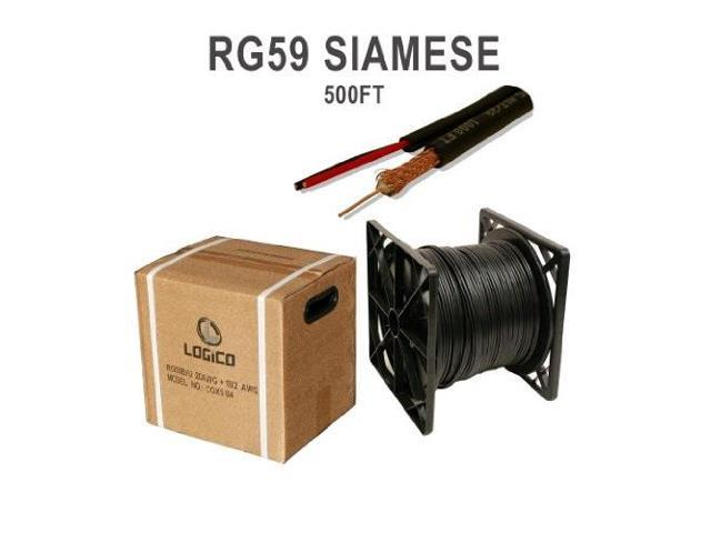 500FT BULK RG59 SIAMESE CABLE 20AWG+18//2 CCTV SECURITY CAMERA WIRE