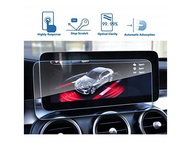 lfotpp car navigation screen protector for 2019 benz cclass w205 10 25  inch,tempered glass 9h hardness audio infotainment display center touch
