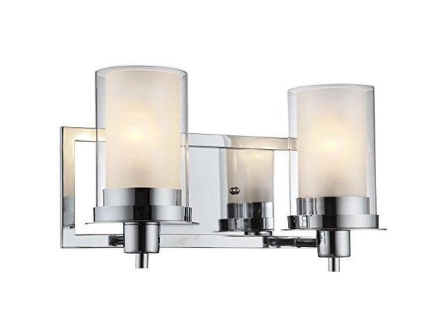 Designers Impressions Juno Polished Chrome 2 Light Wall Sconce Bathroom Fixture With Clear And Frosted Glass 73468 Newegg Com