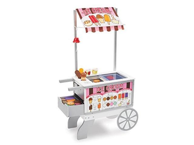 Melissa Doug Wooden Snacks Sweets Food Cart Play Sets Kitchens Reversible Awning 40 Play Food Pieces 49 H X 25 5 W X 13 5 L