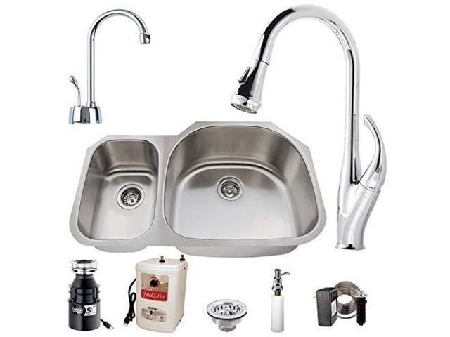 westbrass u3148b7126 undermount stainless steel 30/70 double bowl kitchen  sink set includes: faucet in polished chrome, badger 5, hot water dispenser  ...