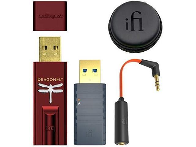audioquest dragonfly red usb dac/headphone amplifier/preamp bundle with ifi  isilencer 3 0 emi noise suppressor and ear buddy attenuator cable for