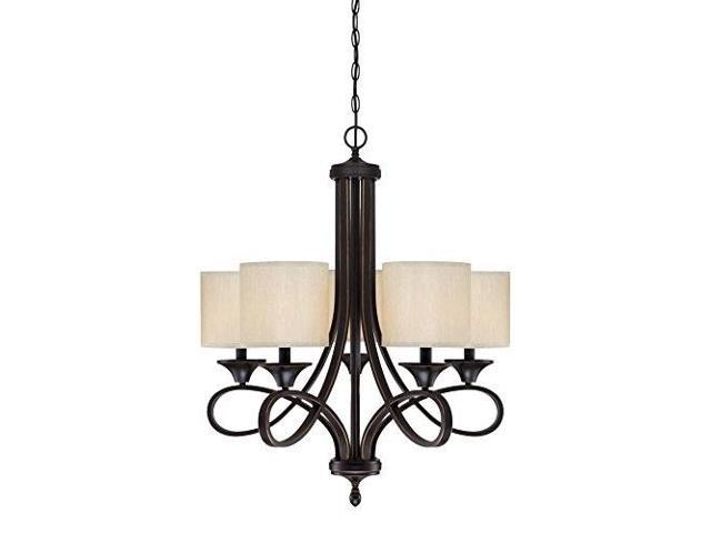 Westinghouse Lighting 6302900 Lenola Fivelight Indoor Chandelier Amber Bronze Finish With Beige Fabric Shades Newegg