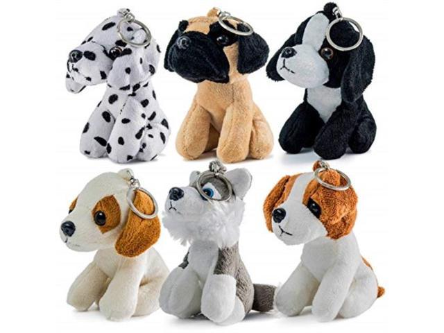 Set Of Dog Stuffed Animals, Prextex Plush Puppies Set Of 6 Realistic Looking 5inch Cute And Cozy Stuffed Animals Little Plush Dogs With Keychain Newegg Com