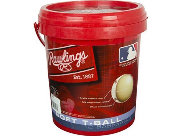 rawlings baseball bucket sponge rubber center synthetic cover baseballs,  youth tball 6u 12 balls, tvbbuck12 - Newegg com