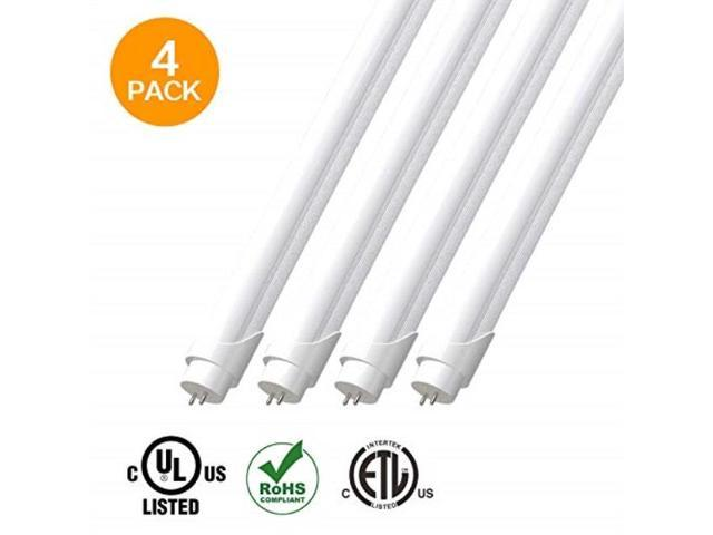 eve 4pack t8 led light tube 4ft 15w 32w equivalent,1950 lumens 3500k bright  white, dualend powered, frosted cover,fluorescent light bulbs