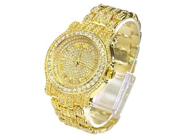 Techno Pave Totally Iced Out Pave Gold Tone Hip Hop Men S Bling Bling Watch Newegg Com
