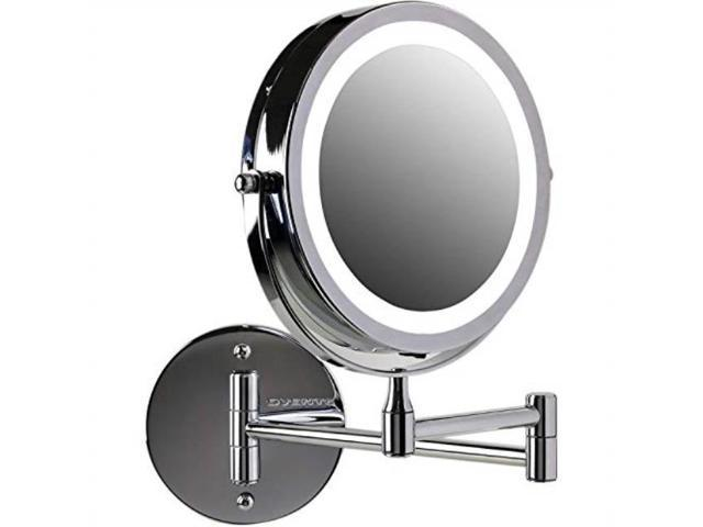 Makeup Mirror.Ovente Wall Mount Led Lighted Makeup Mirror Battery Operated 1x 10x Magnification 7 Polished Chrome Mfw70ch1x10x Newegg Com