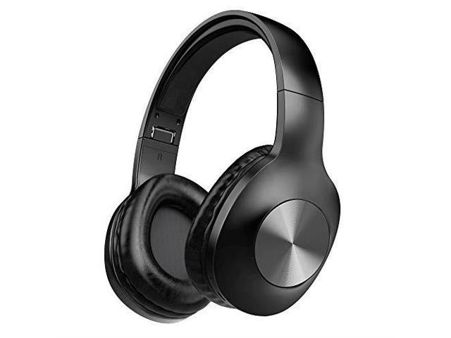 Bluetooth Headphones Letscom Wireless Headphones Over Ear With Hifi Sound Mic Deep Bass 100 Hours Playtime And Soft Memory Protein Earpads For Travel Work Tv Pc Cellphone Black Newegg Com