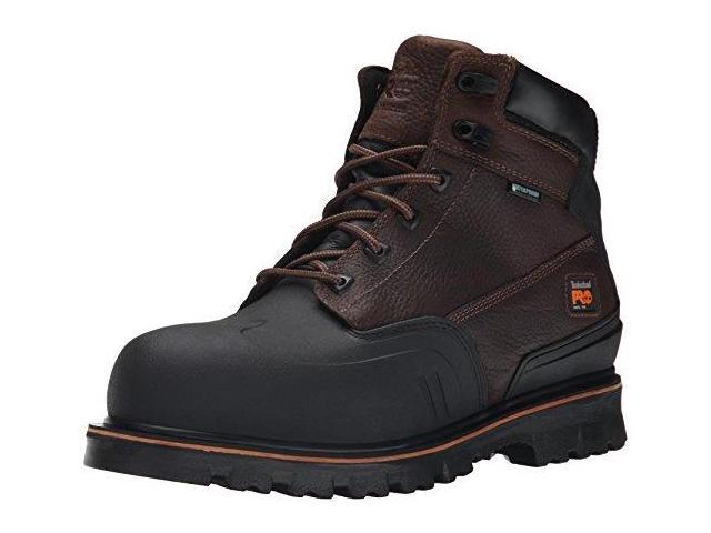 timberland pro men's 6 inch rigmaster xt steel toe waterproof work boot, brown tumbled leather, 11 m us