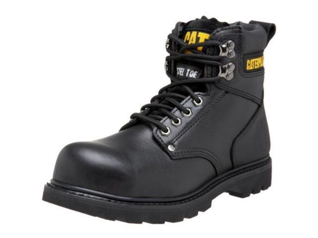 caterpillar men's second shift steel toe work boot, black full grain, 10 m us