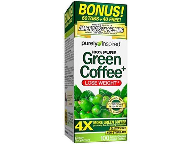 purely inspired green coffee bean, weight loss supplement, nonstimulant 100% pure green coffee for weight loss, 100 count *bonus size*