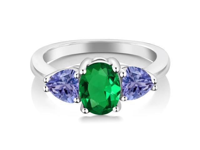 1.42 Ct Oval Green Simulated Emerald Blue Tanzanite 925 Sterling Silver Ring