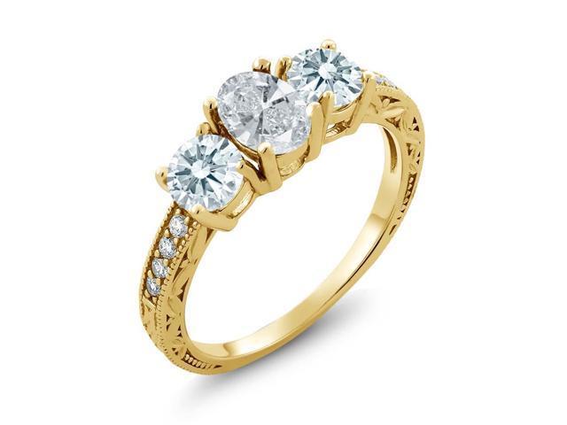 Gem Stone King 1 80 Ct White 925 Yellow Gold Plated Silver Ring Made With  Swarovski Zirconia - Newegg com