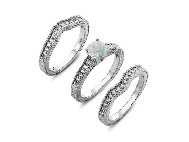 2820a825e0dae 925 Sterling Silver Round White Opal Set of 3 Fitted Ring 1.19 cttw (Size  8) - Newegg.com