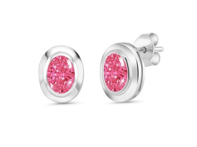 41b5b140f1dfc 925 Silver Stud Earrings Set with Oval Fancy Pink Zirconia from Swarovski -  Newegg.com