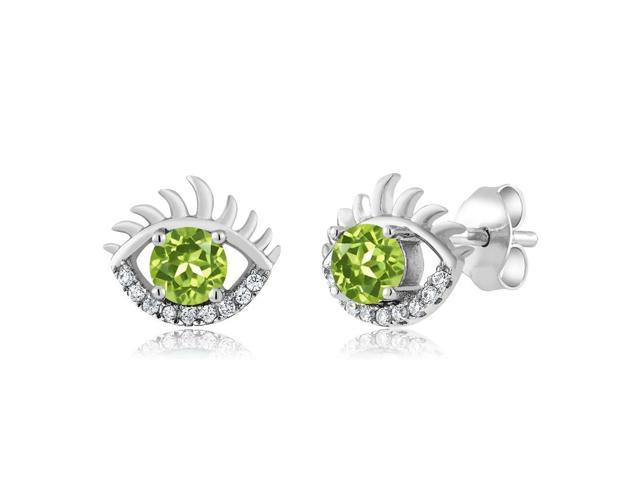 1 12 ct round green peridot and zirconia 925 sterling silver eye earrings