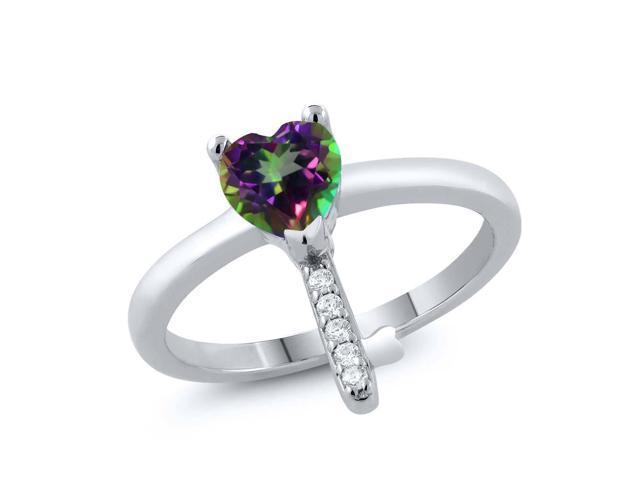 1.00 Ct Heart Shape Green Mystic Topaz 925 Sterling Silver Key Ring ... 626b971e5