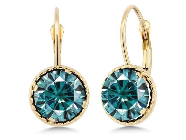 14K Yellow Gold Dangle Earrings Blue Round Created Moissanite 3.00ct DEW