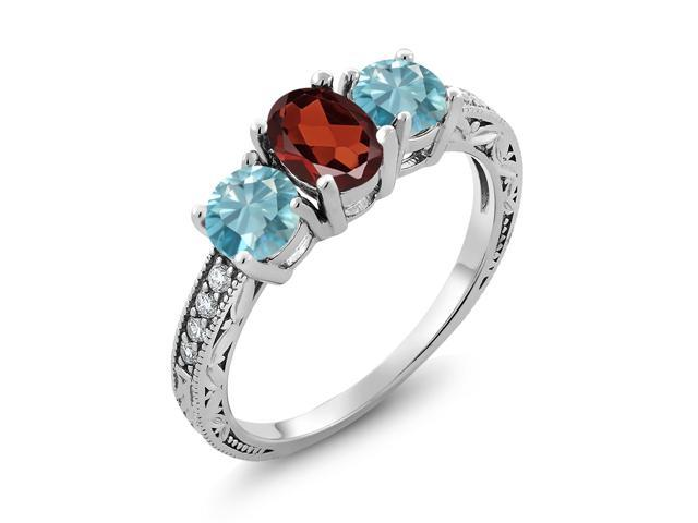 0.50 Ct Oval Red Garnet 925 Sterling Silver Women/'s Ring