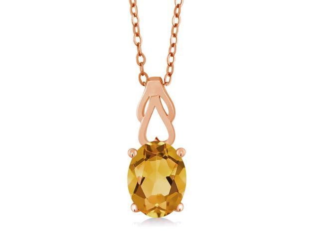 0.72 Ct Round Brown Smoky Quartz 18K Rose Gold Plated Silver Pendant