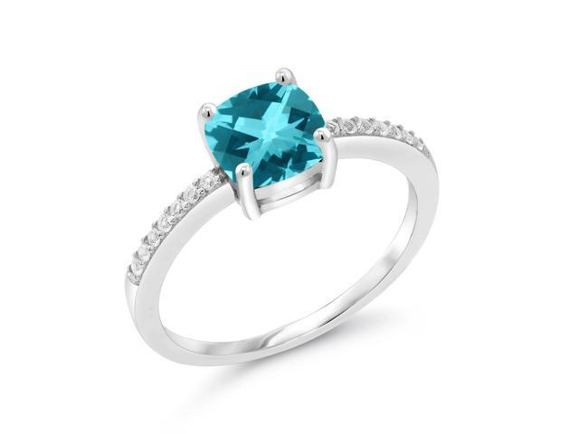 ac14ad638 925 Silver Solitaire Women's Engagement Ring Set w/ Accent Stones  andCushion Checkerboard Paraiba Topaz from Swarovski
