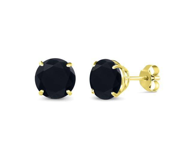 2 56 Ct Round 7mm Black Onyx 14k Yellow Gold Stud Earrings Newegg