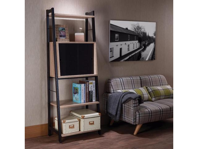new product ed78c e4fd3 Benzara BM158770 Wooden Leaning Bookshelf, Light Oak and Black - Newegg.com
