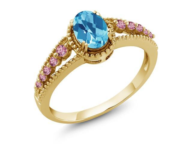 1.38 Ct Oval London Blue Topaz 18K Yellow Gold Plated Silver Ring