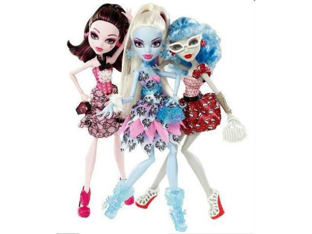 Monster High Doll Exclusive Dot Dead Gorgeous 3 Pack Draculaura Abbey Bominable Ghoulia Yelps Newegg Com