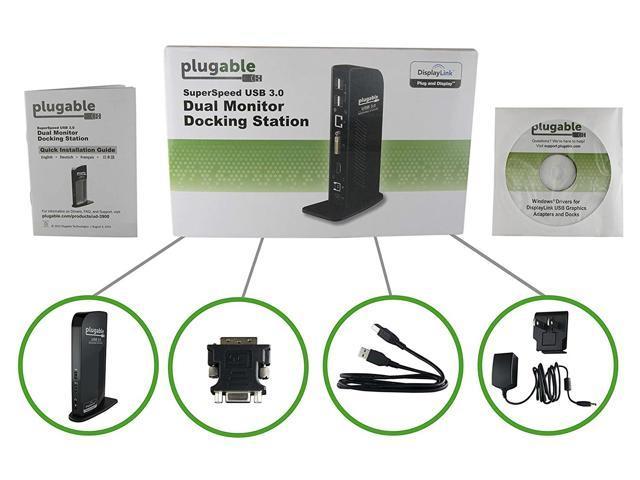 Plugable DisplayLink Dual Monitor Universal Docking Station - USB to HDMI,  DVI - Newegg com