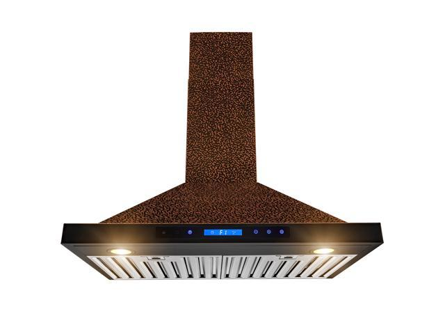 """AKDY Wall Mount Range Hood –30"""" Embossed Copper Hood Fan for Kitchen –  4-Speed – Remote Control – Professional Quiet Motor – Touch Control Panel –  ..."""
