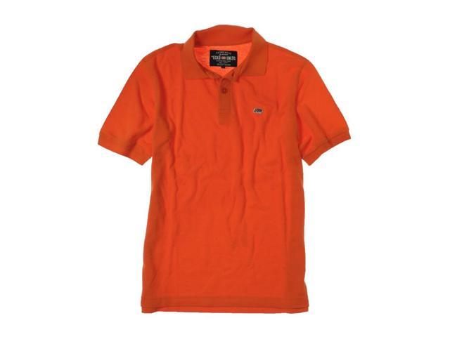 Ecko Unltd Mens Wallburner Solid Color Rugby Polo Shirt Carotene S