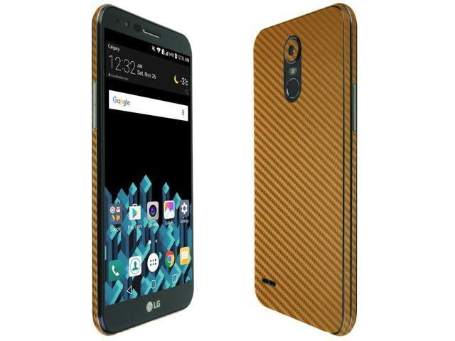 Skinomi TechSkin - LG Stylo 3 Plus Screen Protector + Gold Carbon Fiber  Full Body Skin / Front & Back Wrap Clear Film / Ultra HD and Anti-Bubble