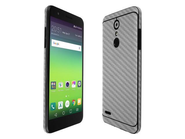 Skinomi TechSkin - LG K30 Screen Protector (LG Premier Pro LTE) + Silver  Carbon Fiber Full Body Skin / Front & Back Wrap Clear Film / Ultra HD and