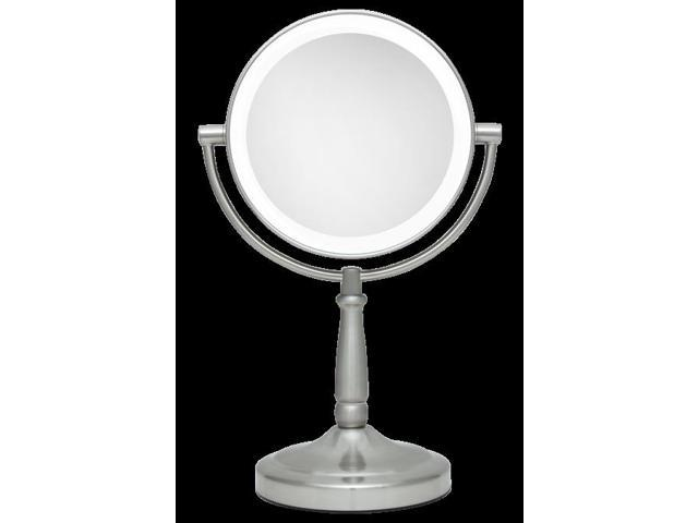 Zadro Led Lighted 1x10x Portable Round Vanity Mirror In Satin